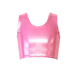 SUZI - PALE PINK SHINE SLEEVELESS GIRLS CROP TOP Children's Dancewear Dancers World Pale Pink Shine 0 (Age 4-6)