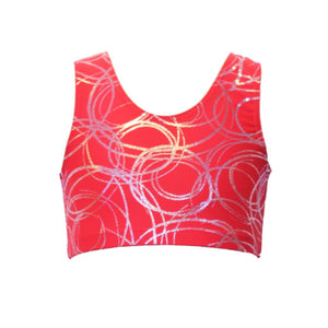 SUZI - RED SWIRL SLEEVELESS CROP TOP Dancewear Dancers World Red Swirl 4 (Size 10-12)