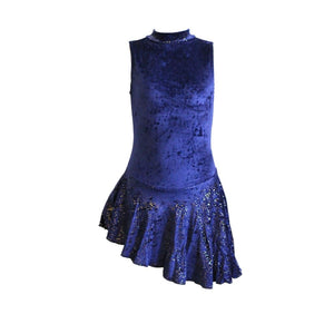SWISH - NAVY VELOUR SKIRTED LEOTARD WITH 1 GLOVE - SIZE 0 (AGE 4-5) Dancewear Dancers World Navy Blue Velour 0 (Age 4-5)