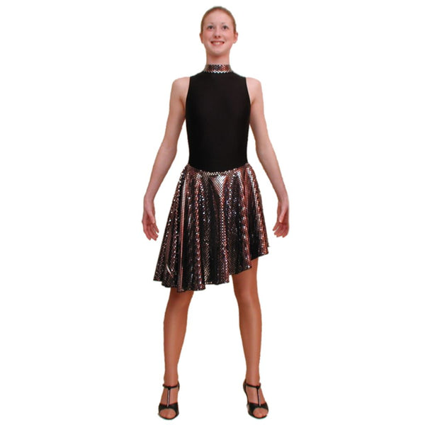 SWISH - POLO NECK DANCE DRESS IN BLACK & SILVER - SIZE 6(XL) Dancewear Dancers World Black 6 (X Large Ladies)