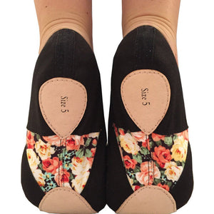 TAGLIA BASILICA 'HELEN OF TROY' BALLET SHOES PINK & BLACK Dance Shoes Taglia Basilica Black Floral Size 2