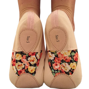 TAGLIA BASILICA 'HELEN OF TROY' BALLET SHOES PINK & BLACK Dance Shoes Taglia Basilica Pink Floral Junior 10