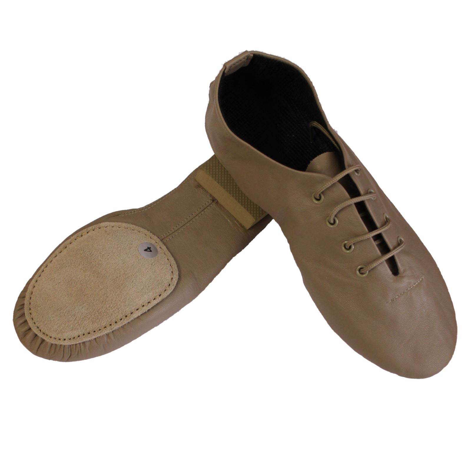 TAN SPLIT SOLE JAZZ SHOES WITH RUBBER