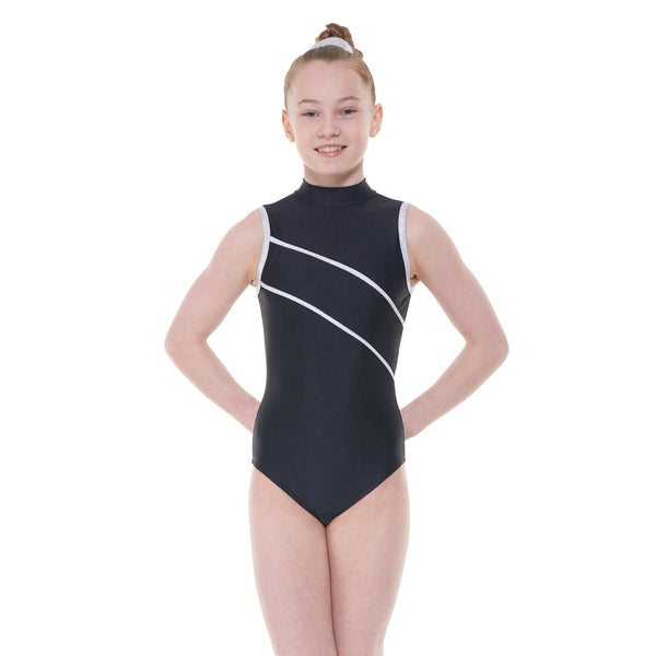 TAPPERS & POINTERS BLACK DEL/2 SLEEVELESS TURTLE NECK LEOTARD Dancewear Tappers and Pointers Black 4 (Size 12)