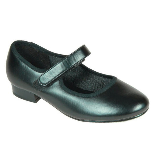 TAPPERS & POINTERS CHILDREN'S LOW HEEL VELCRO TAP SHOES Dance Shoes Tappers and Pointers Black Junior 5