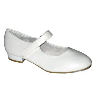 TAPPERS & POINTERS CHILDREN'S LOW HEEL VELCRO TAP SHOES Dance Shoes Tappers and Pointers White Junior 5