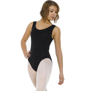 TAPPERS & POINTERS COT 4 BLACK COTTON LYCRA SLEEVELESS LEOTARD Women's Dancewear Tappers and Pointers Black 2 (Age 9-10)