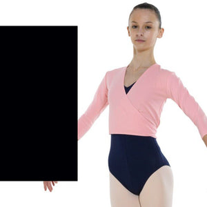 TAPPERS & POINTERS COTTON LYCRA BALLET WRAP Knitwear Tappers and Pointers Black 00 (Age 2-3)