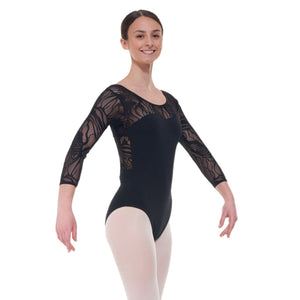 TAPPERS & POINTERS ELE/1 CROSS OVER BACK LACE LEOTARD Dancewear Tappers and Pointers Black 1 (Age 6-8)
