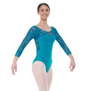 TAPPERS & POINTERS ELE/1 CROSS OVER BACK LACE LEOTARD Dancewear Tappers and Pointers Teal 1 (Age 6-8)