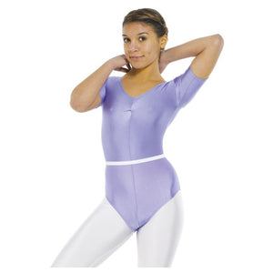 TAPPERS & POINTERS LEO 5 SHORT SLEEVE GATHERED FRONT LYCRA LEOTARD Children's Dancewear Tappers and Pointers