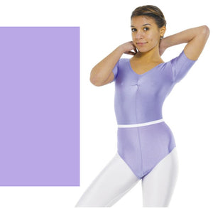 TAPPERS & POINTERS LEO 5 SHORT SLEEVE GATHERED FRONT LYCRA LEOTARD Children's Dancewear Tappers and Pointers Deep Lilac 00 (Age 2-3)