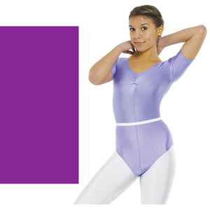 TAPPERS & POINTERS LEO 5 SHORT SLEEVE GATHERED FRONT LYCRA LEOTARD Children's Dancewear Tappers and Pointers Purple 00 (Age 2-3)