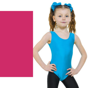 TAPPERS & POINTERS LEO1 SLEEVELESS PLAIN FRONT LEOTARD Dancewear Tappers and Pointers Cerise Peony 00 (Age 2-3)