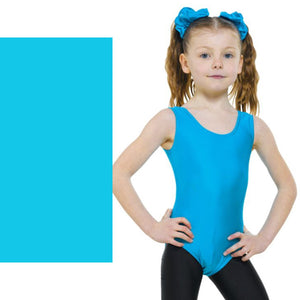 TAPPERS & POINTERS LEO1 SLEEVELESS PLAIN FRONT LEOTARD Dancewear Tappers and Pointers Kingfisher 00 (Age 2-3)
