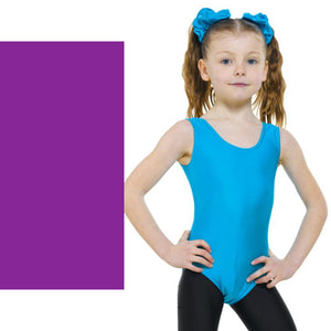 TAPPERS & POINTERS LEO1 SLEEVELESS PLAIN FRONT LEOTARD Dancewear Tappers and Pointers Purple 00 (Age 2-3)