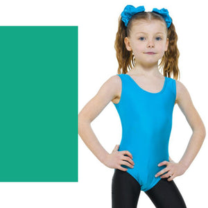 TAPPERS & POINTERS LEO1 SLEEVELESS PLAIN FRONT LEOTARD Dancewear Tappers and Pointers Vert Green 5 (Size 14)