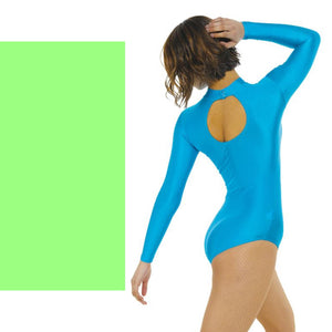 TAPPERS & POINTERS LONG SLEEVE POLO NECK LEOTARD Dancewear Tappers and Pointers Flo Green 0 (Age 4-5)