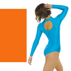 TAPPERS & POINTERS LONG SLEEVE POLO NECK LEOTARD Dancewear Tappers and Pointers Flo Orange 0 (Age 4-5)
