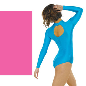 TAPPERS & POINTERS LONG SLEEVE POLO NECK LEOTARD Dancewear Tappers and Pointers Flo Pink 0 (Age 4-5)