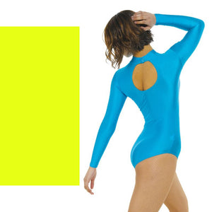 TAPPERS & POINTERS LONG SLEEVE POLO NECK LEOTARD Dancewear Tappers and Pointers Flo Yellow 0 (Age 4-5)