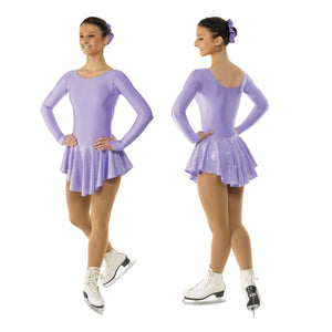 TAPPERS & POINTERS LYCRA SKATING DRESS WITH HOLOGRAM PRINT SKIRT Ice Skating Tappers and Pointers Lilac Splash 0 (Age 4-5)