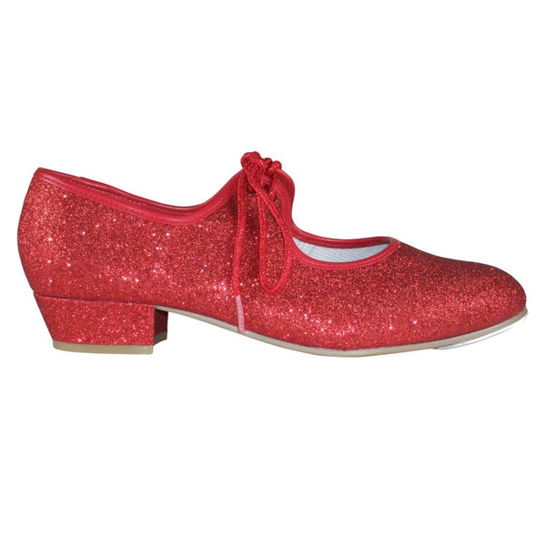 TAPPERS & POINTERS RED GLITTER LOW HEEL TAP DANCE SHOES Dance Shoes Tappers and Pointers Junior 5