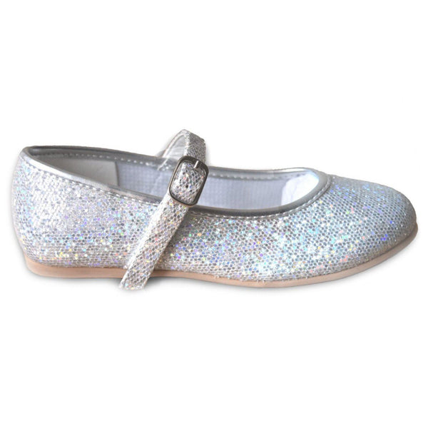 TAPPERS & POINTERS SILVER HOLOGRAM BAR SHOE - SIZE 2 Weddings & Christenings Tappers and Pointers
