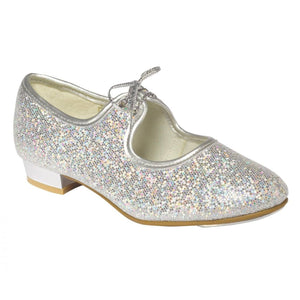 TAPPERS & POINTERS SILVER HOLOGRAM LOW HEEL TAP DANCE SHOES Dance Shoes Tappers and Pointers