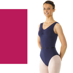 TAPPERS & POINTERS SLEEVELESS COTTON RUCHED FRONT LEOTARD Dancewear Tappers and Pointers Mulberry 1 (Age 6-8)