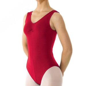 TAPPERS & POINTERS SLEEVELESS COTTON RUCHED FRONT LEOTARD Dancewear Tappers and Pointers Plum 1 (Age 6-8)