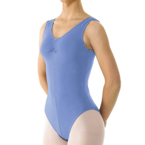 TAPPERS & POINTERS SLEEVELESS COTTON RUCHED FRONT LEOTARD Dancewear Tappers and Pointers Sky 1 (Age 6-8)