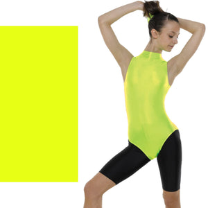 TAPPERS & POINTERS SLEEVELESS POLO NECK LEOTARD Dancewear Tappers and Pointers Flo Yellow 0 (Age 4-5)