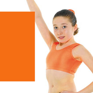 TAPPERS & POINTERS SLEEVELESS VEST CROP TOP Dancewear Tappers and Pointers Fluorescent Orange 0 (Age 4-5)
