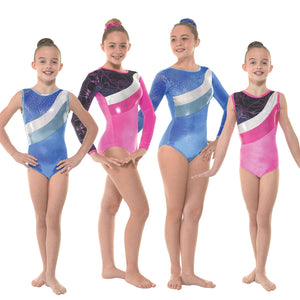 TAPPERS & POINTERS SMOOTH VELVET WITH METALLIC FOIL & SHINE GYMNASTIC LEOTARD Gymnastics Tappers and Pointers