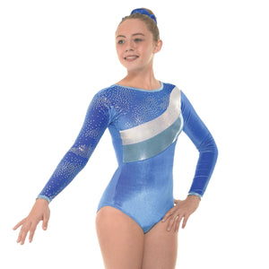 TAPPERS & POINTERS SMOOTH VELVET WITH METALLIC FOIL & SHINE GYMNASTIC LEOTARD Gymnastics Tappers and Pointers Royal Smooth Velvet 0 (Age 4-5) Long Sleeve