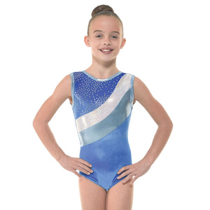 TAPPERS & POINTERS SMOOTH VELVET WITH METALLIC FOIL & SHINE GYMNASTIC LEOTARD Gymnastics Tappers and Pointers Royal Smooth Velvet 0 (Age 4-5) Sleeveless