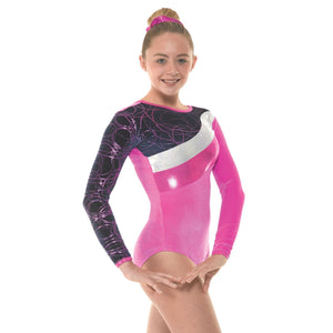 TAPPERS & POINTERS SMOOTH VELVET WITH METALLIC FOIL & SHINE GYMNASTIC LONG SLEEVE LEOTARD - SIZE 3 Gymnastics Tappers and Pointers Pink Smooth Velvet 3 (Size 10) Long Sleeve