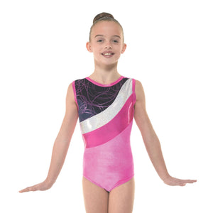 TAPPERS & POINTERS SMOOTH VELVET WITH METALLIC FOIL & SHINE GYMNASTIC SLEEVELESS - SIZE 2 LEOTARD Gymnastics Tappers and Pointers Pink Smooth Velvet 2 (Age 9-10) Sleeveless