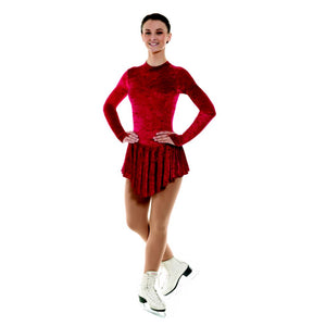 TAPPERS & POINTERS VELOUR ICE SKATING DANCE DRESS Ice Skating Tappers and Pointers Crimson Velour 0 (Age 4-5)