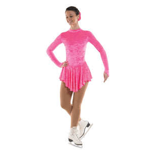 TAPPERS & POINTERS VELOUR ICE SKATING DANCE DRESS Ice Skating Tappers and Pointers Fluorescent Pink Velour 0 (Age 4-5)