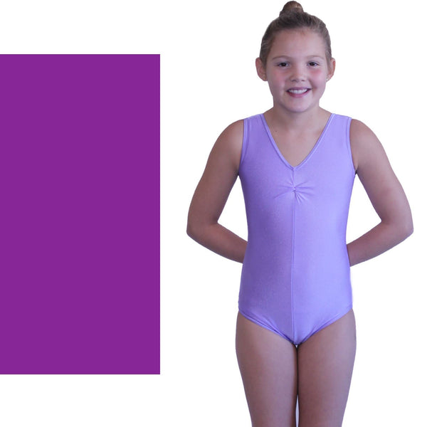The academy of Dance - SLEEVELESS GATHERED FRONT LEOTARD - PURPLE Dancewear Dancers World Purple 00 (Age 2-4)