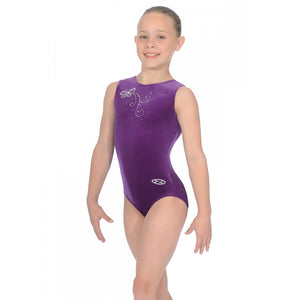 "THE ZONE BUTTERFLY SLEEVELESS SMOOTH VELVET GYMNASTIC LEOTARD - GRAPE 30"" Gymnastics The Zone"