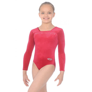 "THE ZONE SPARKLE LONG SLEEVE SMOOTH VELVET GYMNASTIC LEOTARD - WINE 24"" Gymnastics The Zone Wine 24"""