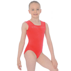 "THE ZONE SPARKLE SLEEVELESS SMOOTH VELVET GYMNASTIC LEOTARD - RED 28"" Gymnastics The Zone Red 28"""