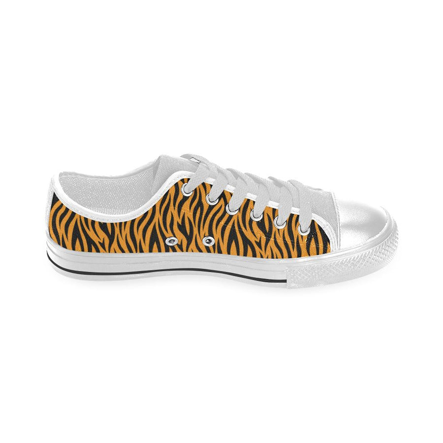 TIGER PRINT LOW TOP WHITE CANVAS CHILDRENS/KIDS SNEAKERS Sneakers Dancers World
