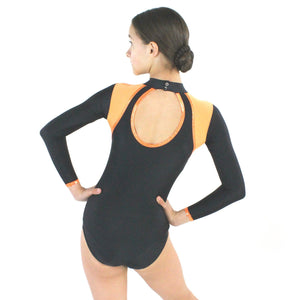 TORI - SHOULDER ACCENT LONG SLEEVE POLO NECK LEOTARD Dancewear Click Dancewear