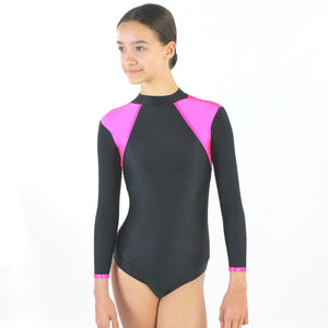 TORI - SHOULDER ACCENT LONG SLEEVE POLO NECK LEOTARD Dancewear Click Dancewear Fluorescent Pink 00 (Age 2-4)