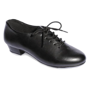UNISEX BLACK LEATHER LOOK OXFORD TAP SHOES WITH HEEL AND TOE TAPS Dance Shoes Roch Valley