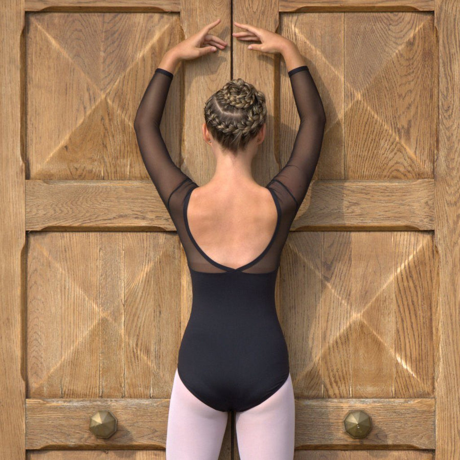 VICTORIA - V FRONT V BACK LONG SLEEVE LEOTARD Dancewear Click Dancewear